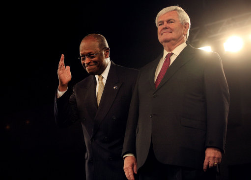 Cain Remains Atop Gop Field; Gingrich Rises