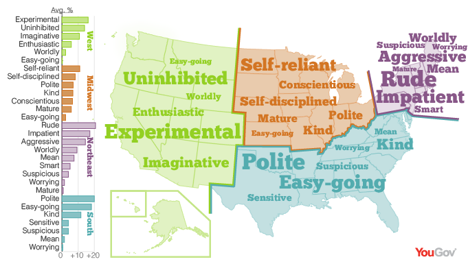 YouGov The Personality Map Of The USA - South us region map
